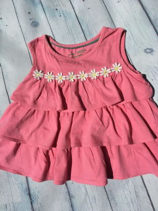 Mini Boden pink tiered tunic top with daisy detail age 6-7